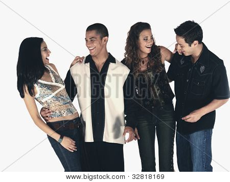 Young Hispanic friends laughing