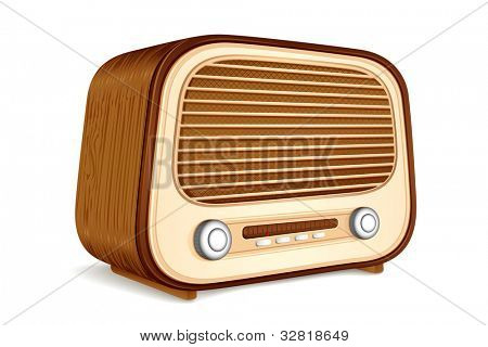 illustration of vintage antique radio on white background