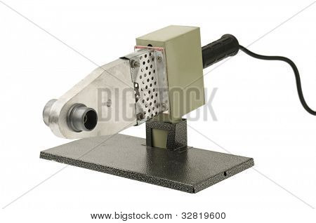 Electric tool  for welding plastic pipe isolated on  white background