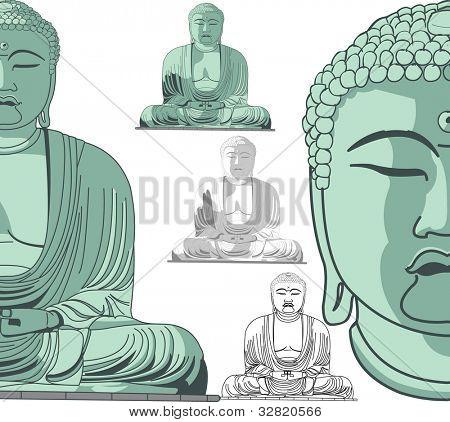 Sitting Buddha in vector art