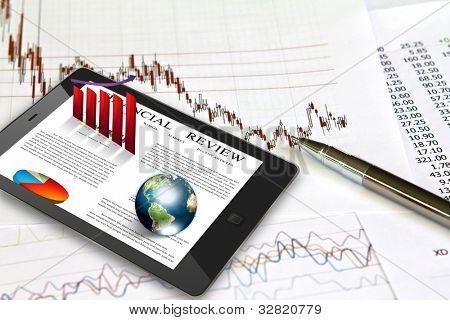 Touch pad e gráficos financeiros (elementos da imagem fornecida pela NASA)