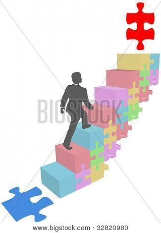 Business person climbs steps up to solution goal jigsaw puzzle piece