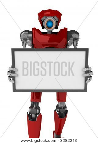Robot, Holding A Sign, Red