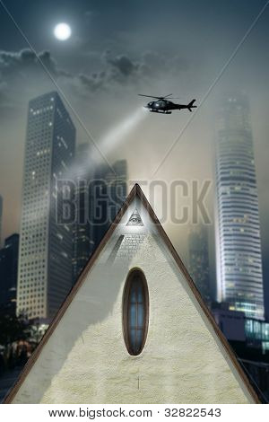 Concept photo of a pyramid shaped building with eye of providence in the midst of a gothic urban city with helicopter searching above