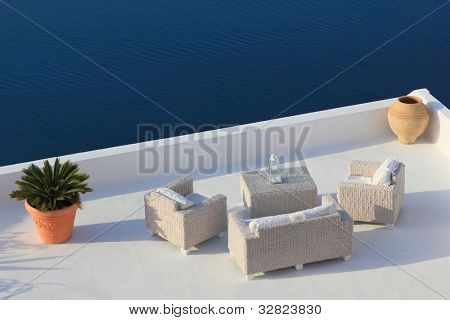 View on caldera and sea from balcony, Santorini, Greece