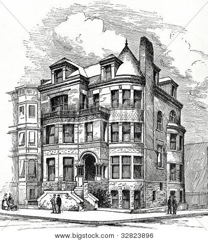 Residence Corner Eight Avenue and Berkeley Street, Brooklyn. F. Carles Merry, Architect. Illustration from �«Scientific American. Architects and Builders Edition�» magazine. USA, New York, august 1887.