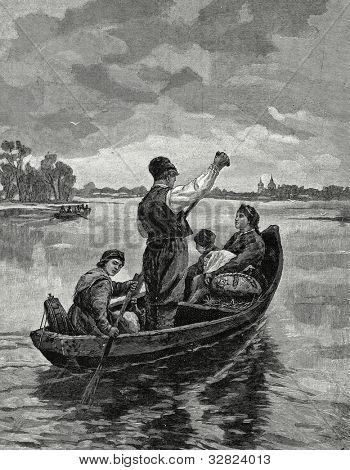 Returning from the city. Engraving by Shyubler from picture by Tkachenko. Published in magazine