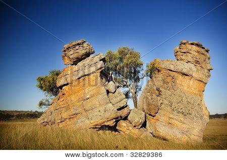 Split Rocks With Woman