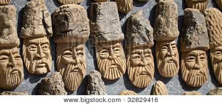 Figurines Made ??of Wood. Folk Art