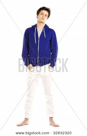 Young Man Dressed In Hoodie Looking Cool