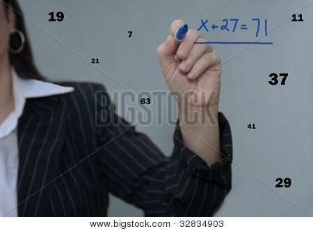 Business Woman Working With Math Numbers