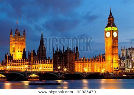 House of Parliament and Big Ben River Thames Landmark of London England United Kingdom at Dusk
