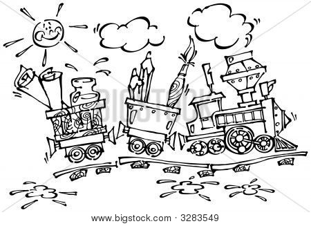 Baby Train With Pencils And Brushes