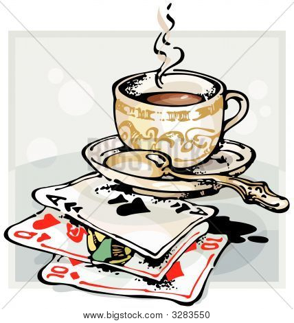 Cup Of Coffee And Playing Cards