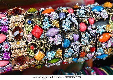 Row Of Colorful Bracelets On Jewelry Market In Jerusalem