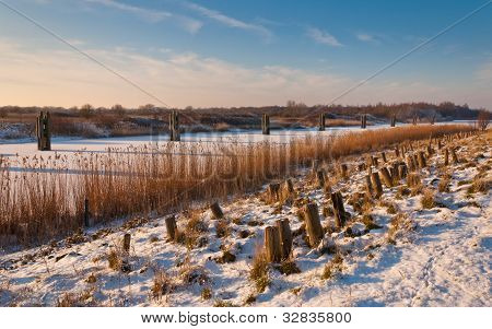 A Dutch Dike In Winter