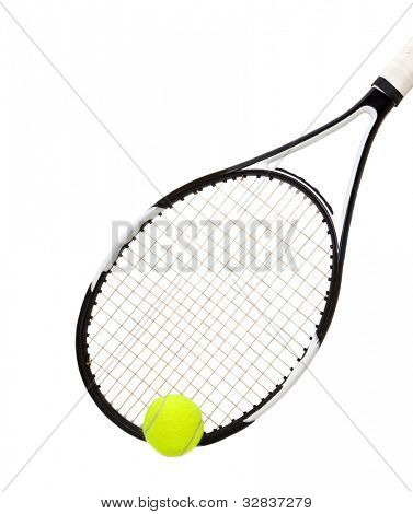 Tennis racket and ball isolated on white background