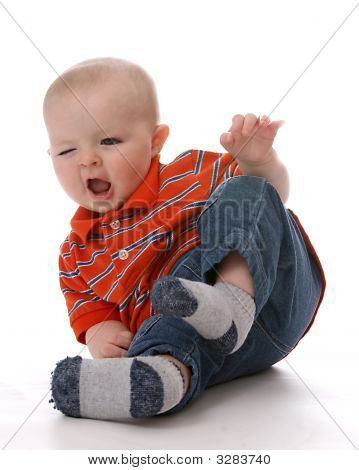 Funny Baby Boy Tipping Bottom In Air
