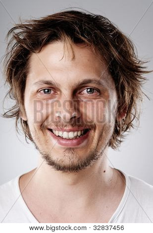 Highly detailed image of a happy smiling young attractive man (more than 100 faces in this collection in my portfolio)