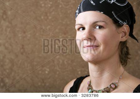Pretty Woman Wearing A Bandana