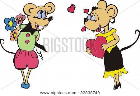 Mice in love. Cartoon