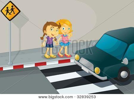 Illustration of 2 girls crossing the street