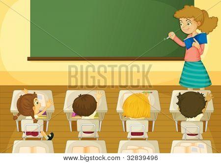 Ilustração de uma cena de sala de aula