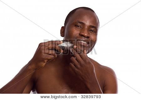 African-american man shaving, isolated on white background