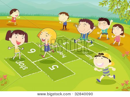 Ground of friends playing hopscotch in the park - EPS VECTOR format also available in my portfolio.