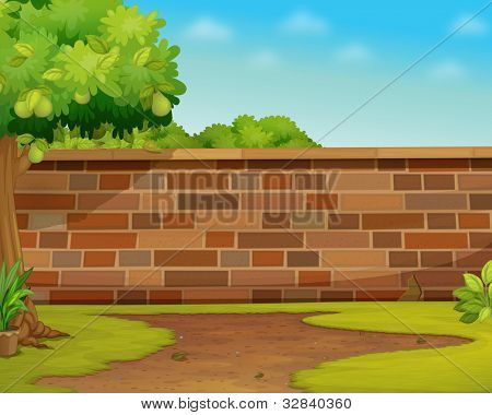 Illustration of a brick wall in a garden - EPS VECTOR format also available in my portfolio.
