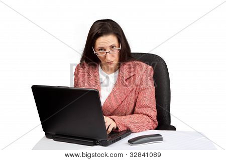 Adult Businesswoman Woking On Laptop