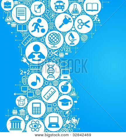 vector background of the many icons on the topic of education