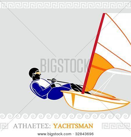 Greek art stylized yachtsman