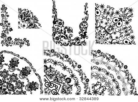 illustration with quadrant decorations on white background