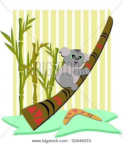 Koala Bear with a Didgeridoo and Boomerang