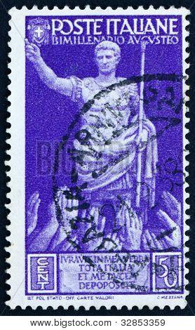 Postage stamp Italy 1937 Emperor Augustus Caesar Receiving Accla