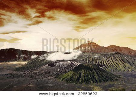 Volcanoes in Bromo Tengger Semeru National Park at sunrise. Java, Indonesia