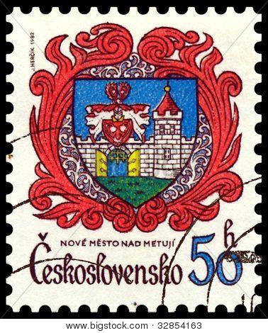 Vintage  Postage Stamp. Coat Of Arms Nove Mesto Nad Metuji.