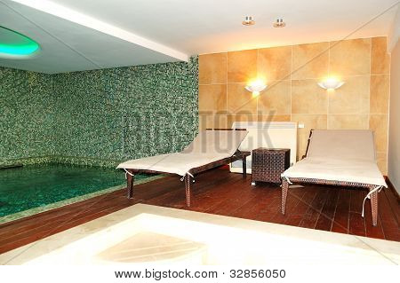 Spa Swimming Pool At The Luxury Hotel, Pieria, Greece