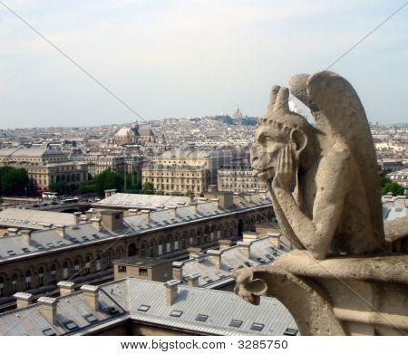 Notre Dame Gargoyle Guarding Church