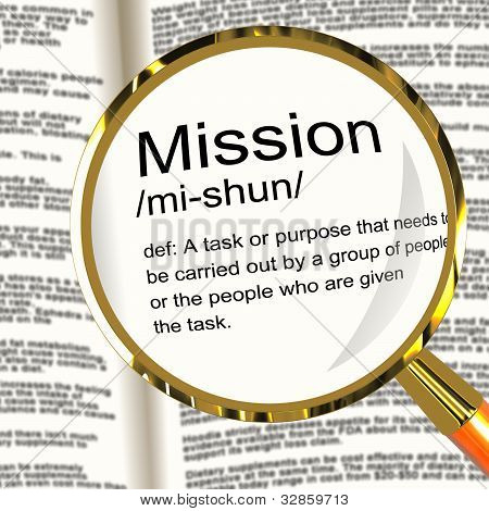 Mission Definition Magnifier Showing Task Goal Or Assignment To Be Done