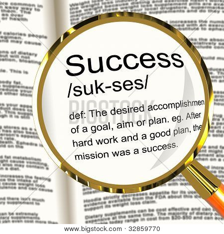 Success Definition Magnifier Showing Achievements Or Attainment Of Wealth