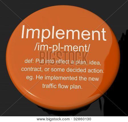Implementeren definitie knop weergegeven: uitvoeren of uitvoering van een Plan
