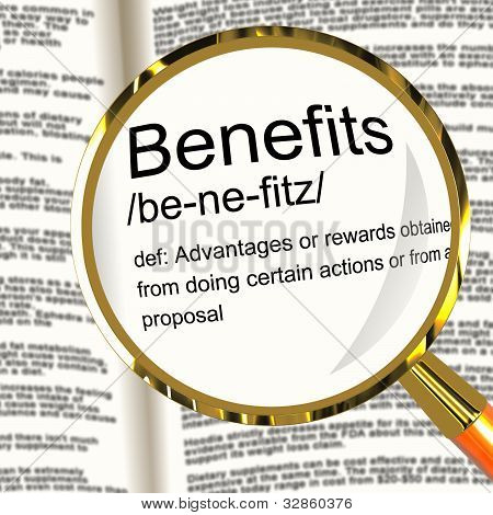 Benefits Definition Magnifier Showing Bonus Perks Or Rewards