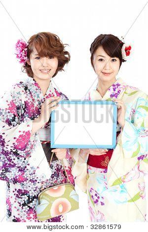 Beautiful kimono women. Portrait of asian women.
