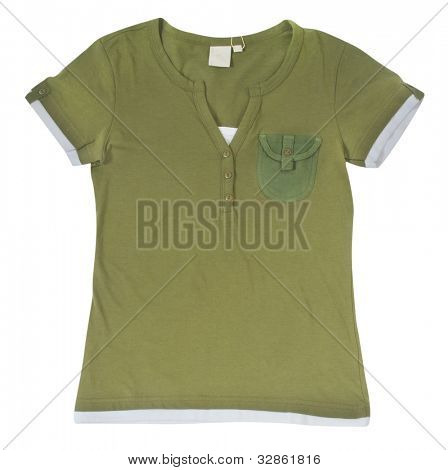green shirt isolated on white