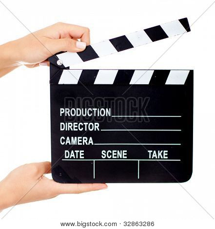 Movie clapperboard - isolated over a white background