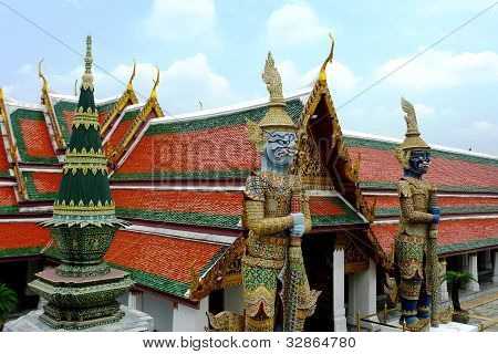 Giant statues at Wat Phra Kaew Temple, Bangkok