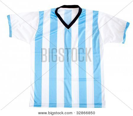 Argentinean football shirt - isolated over a white background