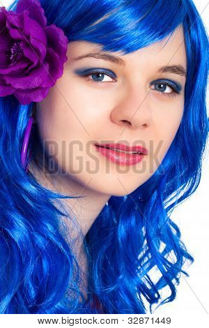 Beautiful Woman In Blue Wig